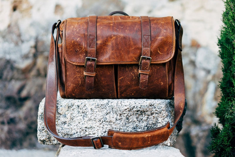 Brown vintage leather messenger bag