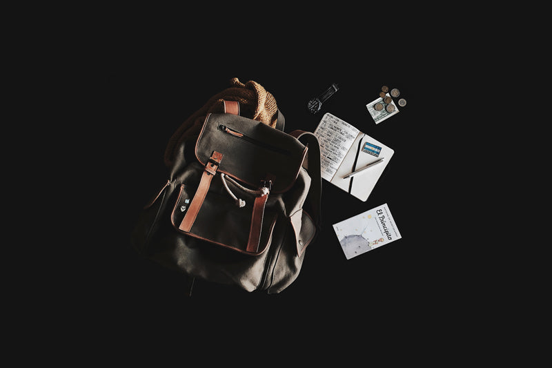 Canvas Backpack with papers