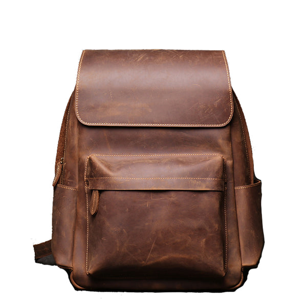 Crazy Horse Leather Backpack - YONDER BAGS