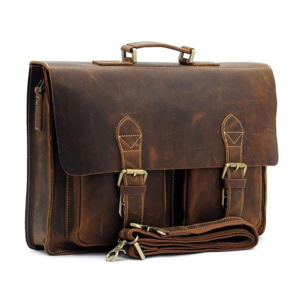 Austin Vintage Leather Briefcase-YONDER BAGS