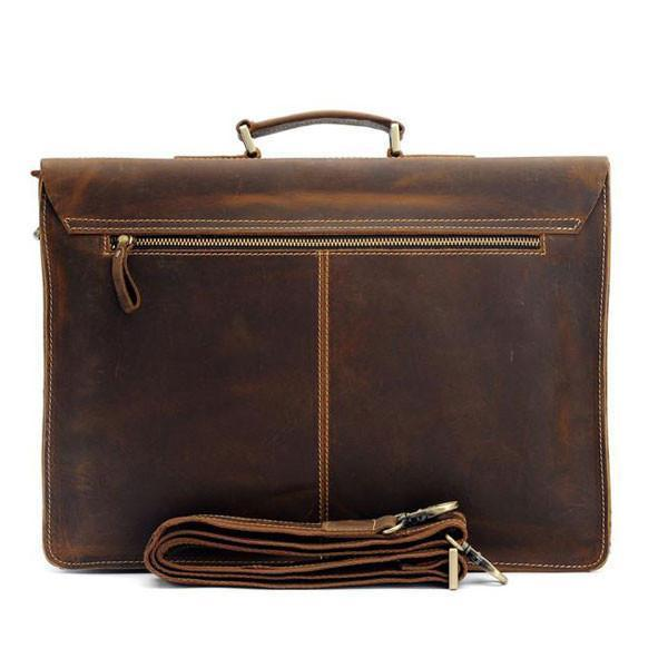 Austin Vintage Leather Briefcase crazy horse leather