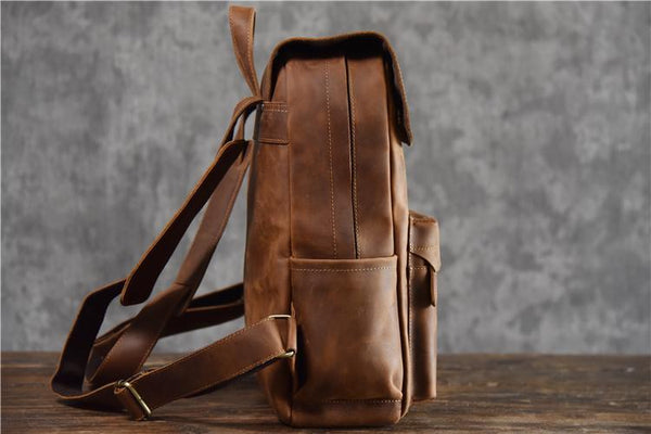 Crazy Horse Leather Backpack-YONDER BAGS