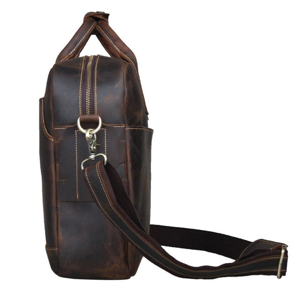 Jackson Crazy Horse Leather Briefcase-YONDER BAGS