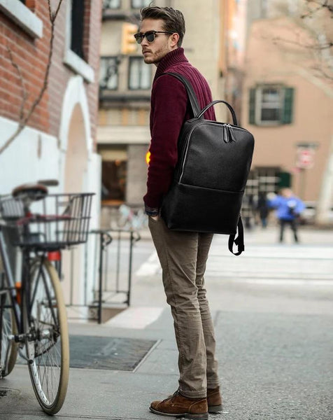Spry Leather Laptop Backpack-YONDER BAGS
