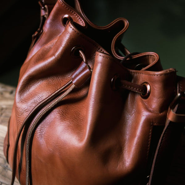 Tulip Vintage Leather Bucket Bag - YONDER BAGS