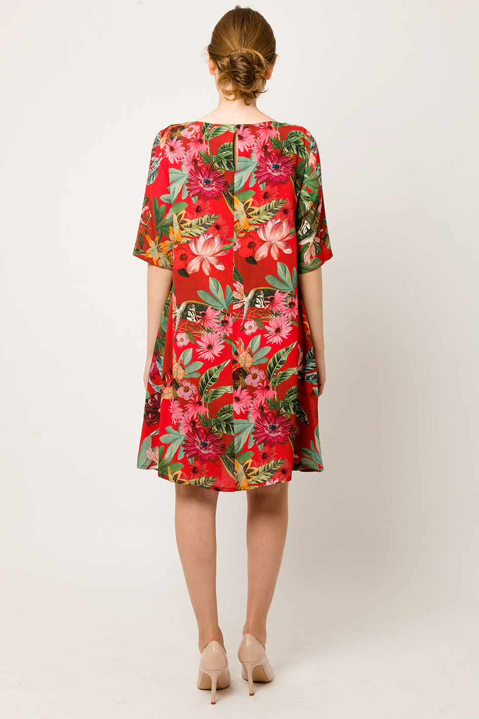 A-line red flower Dress with pleat