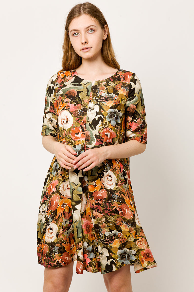 Colorful A line flower Dress with pleat