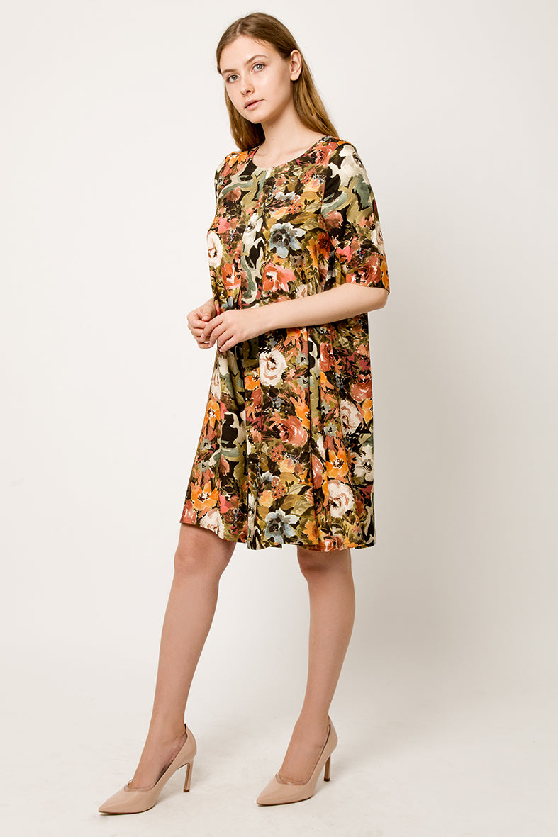 Colorful A line flower Dress with pleat - side view