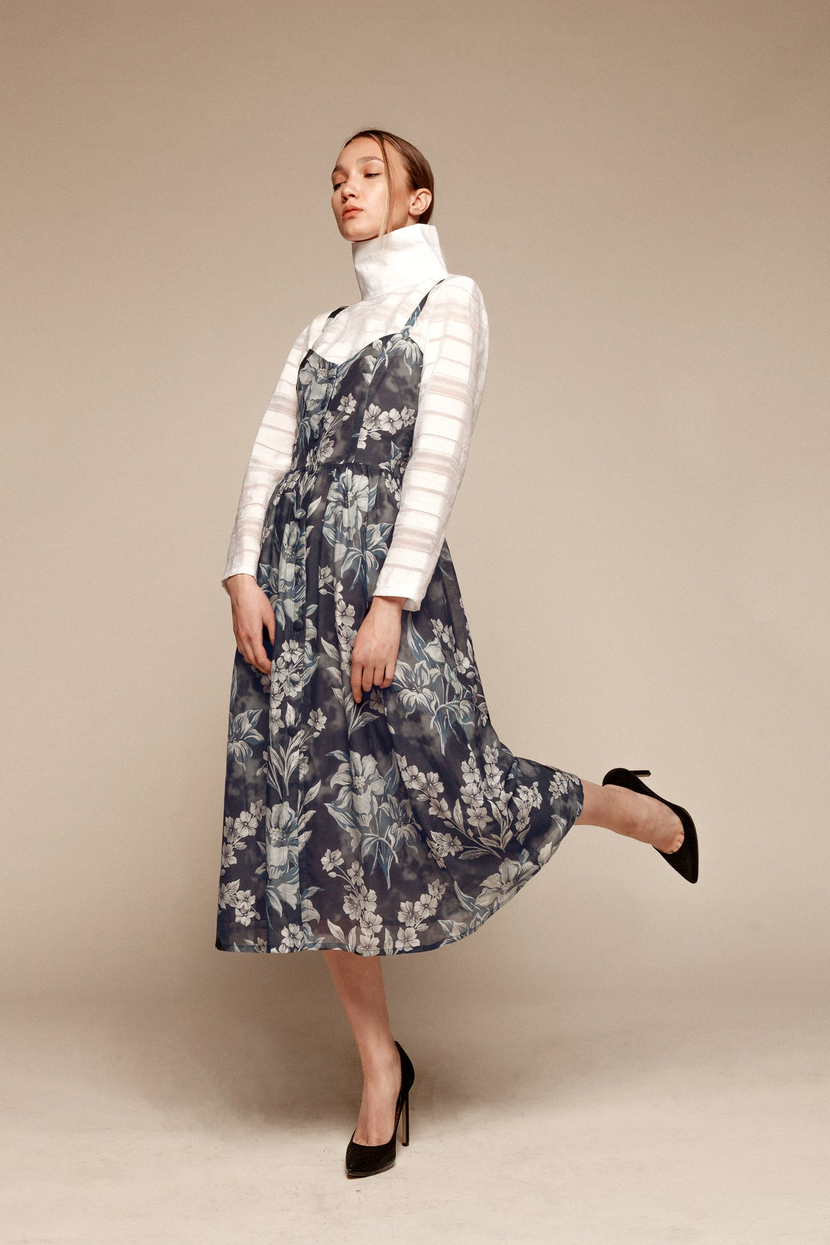 Floral dress with decorative buttons