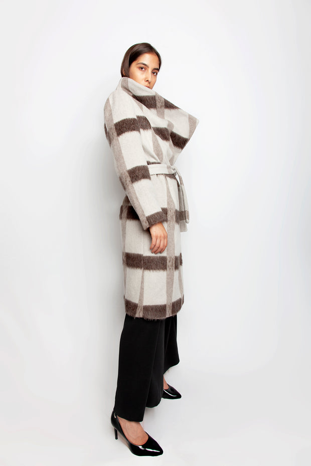 Cream and brown wool coat