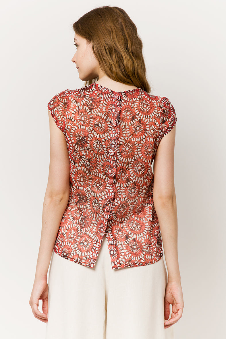 Model in red light cotton top with flowers - back