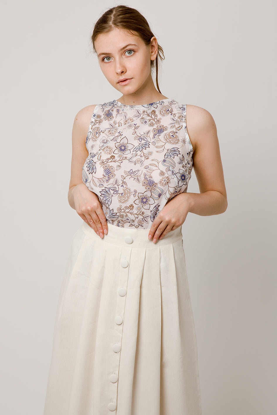 Lavender and taupe flower top