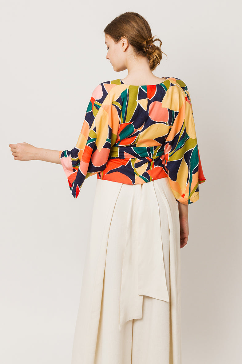 Model in colorful wrapover kimono top - back look