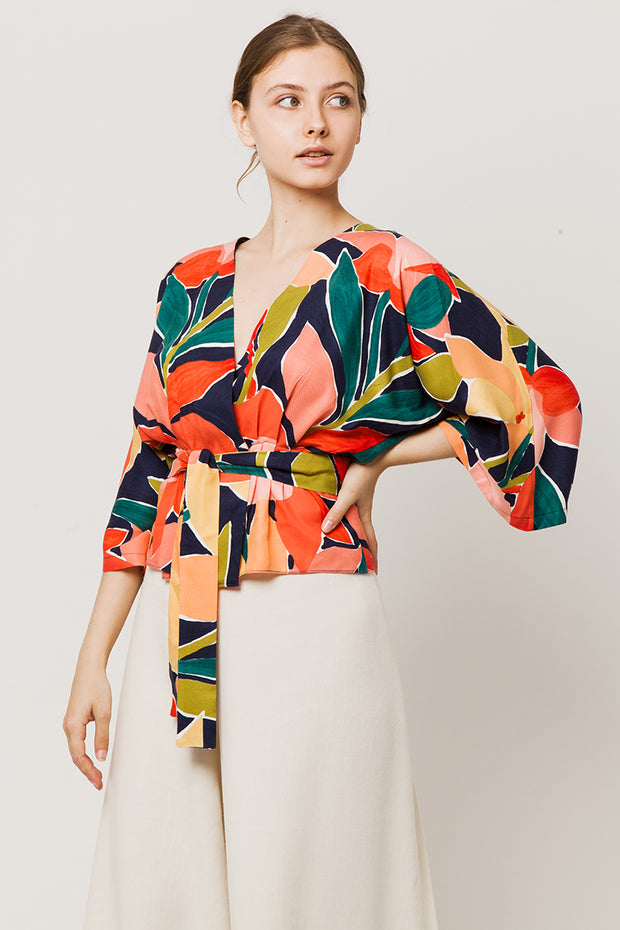 Colorful wrapover kimono top with a belt - side look