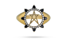 Black Diamond Star Ring - meherjewellery