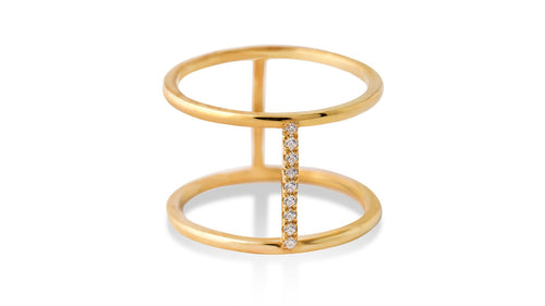Bridge in Time: Half Diamond Ring - meherjewellery