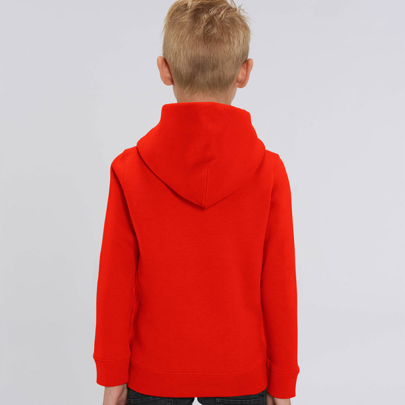 Personalised Bright Red Kids Hoodie Boys Back Stanley Stella