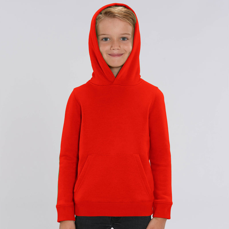 Personalised Bright Red Kids Sweatshirt Hoodie Boys Front Stanley Stella