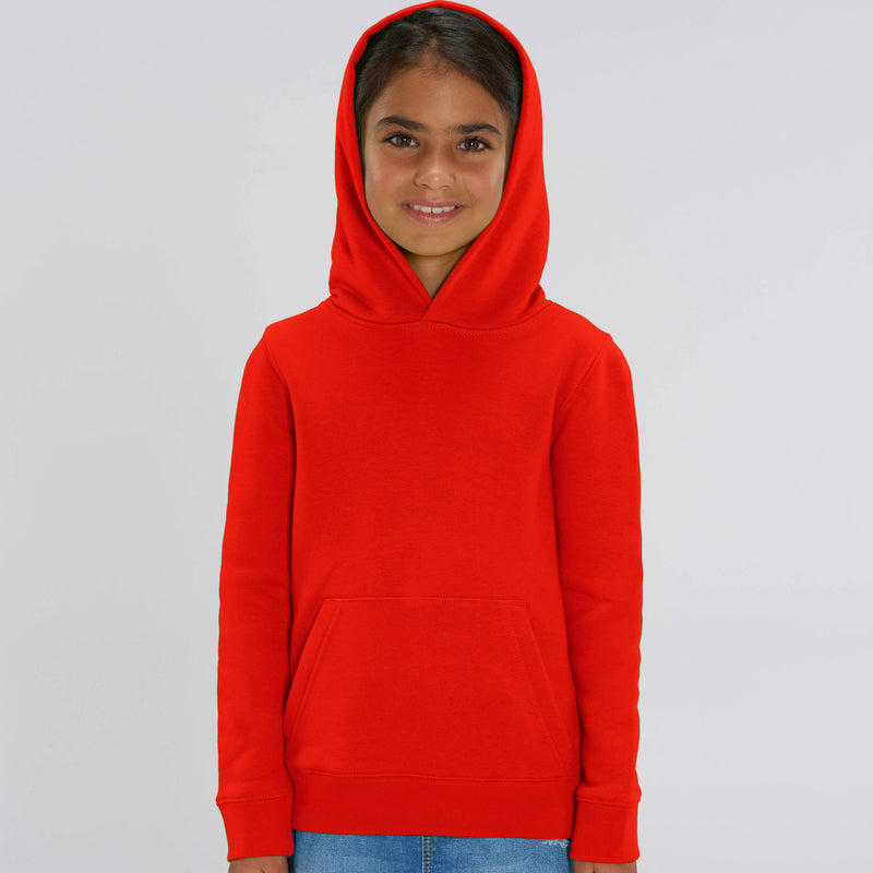 Personalised Vegan Fair Trade Recyclable Bright Red Kids Sweatshirt Hoodie Girls Front