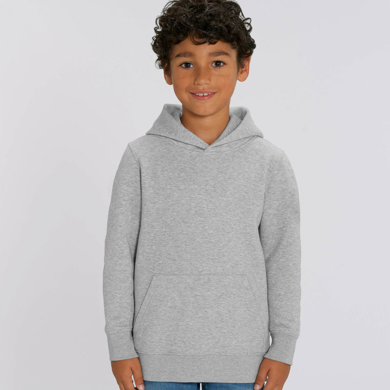Vegan Fair Trade Recyclable Personalised Boys Hoodie Heather Grey Stanley Stella