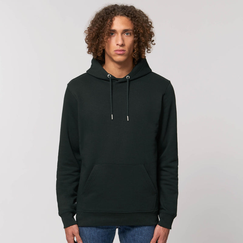 Vegan Organic Cotton Black Mens Hoodie Stanley Stella Personalised