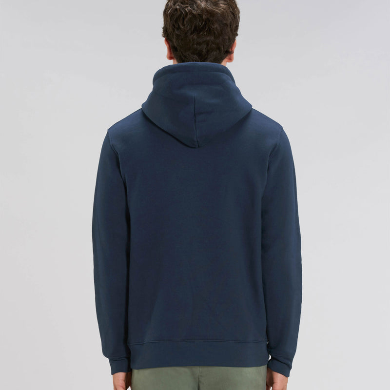Vegan Fair Trade Mens Organic Cotton Hoodie in Heather French Navy Back