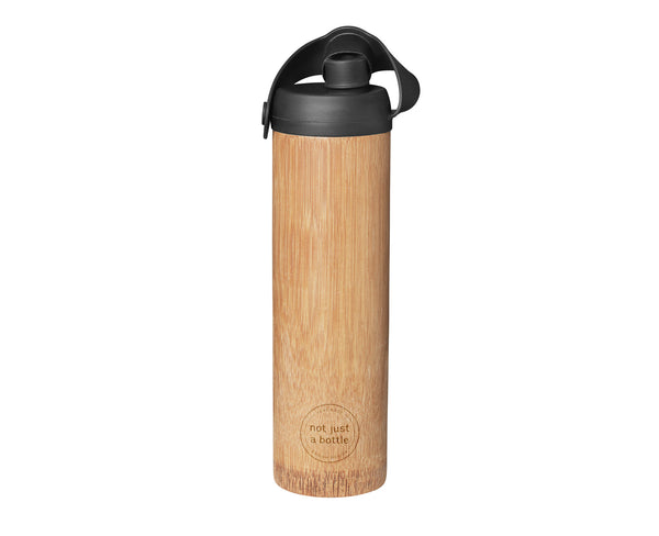 Bamboo bottle life black color, open lid, Not Just Bamboo