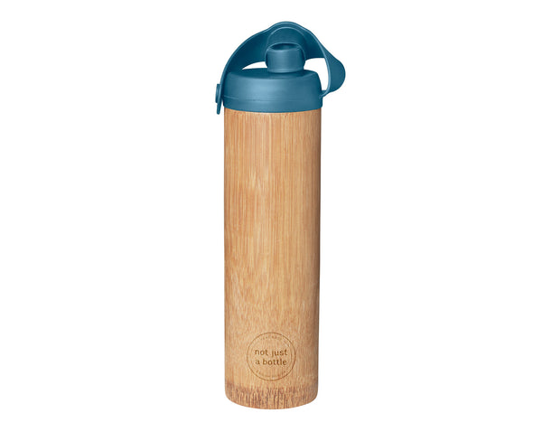 Bamboo bottle life blue color, open lid, Not Just Bamboo