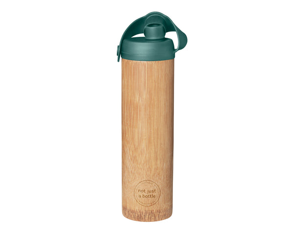 Bamboo bottle life green color, open lid, Not Just Bamboo