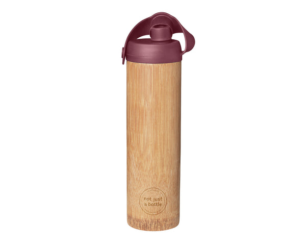 Bamboo bottle life red color, open lid, Not Just Bamboo