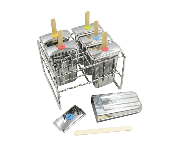 Stainless steel ice pop mold with bamboo sticks