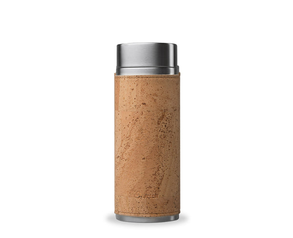 Qwetch, tea mug 300ml, stainless steel brush & its natural cork sleeve