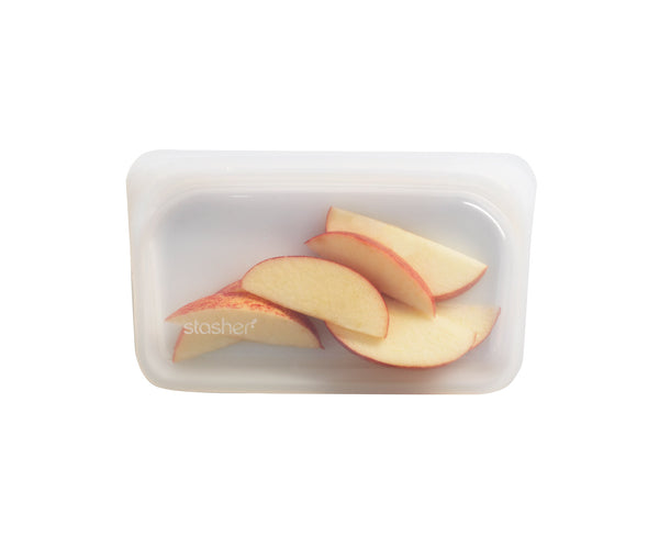 Snack bag stasher - clear, empty with fruits