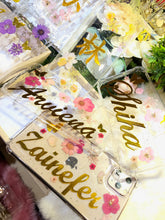 NEW!!! Personalized Name - Pressed Flowers Hard Glitters Gel Golden Name Design
