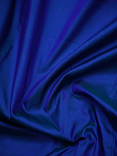 Royal Blue Color Gold Zari Contrast Border Pure Katan Silk Banarasi Saree- Sacred Weaves