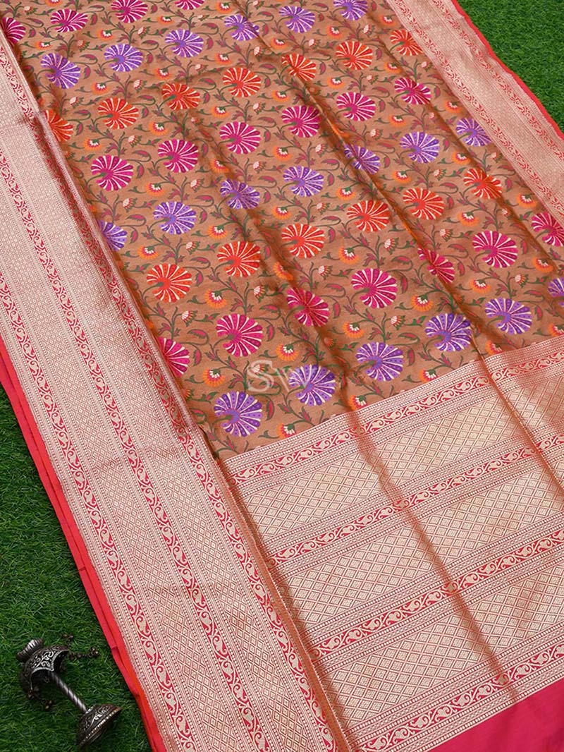 Copper Meenakari Katan Silk Handloom Banarasi Saree - Sacred Weaves