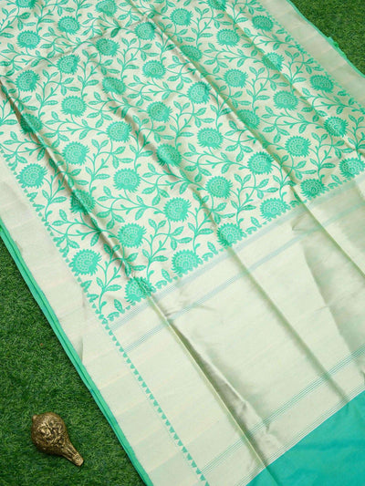 Sea Green Color Gold Zari Floral Jaal Pure Katan Silk Banarasi Saree - Sacred Weaves