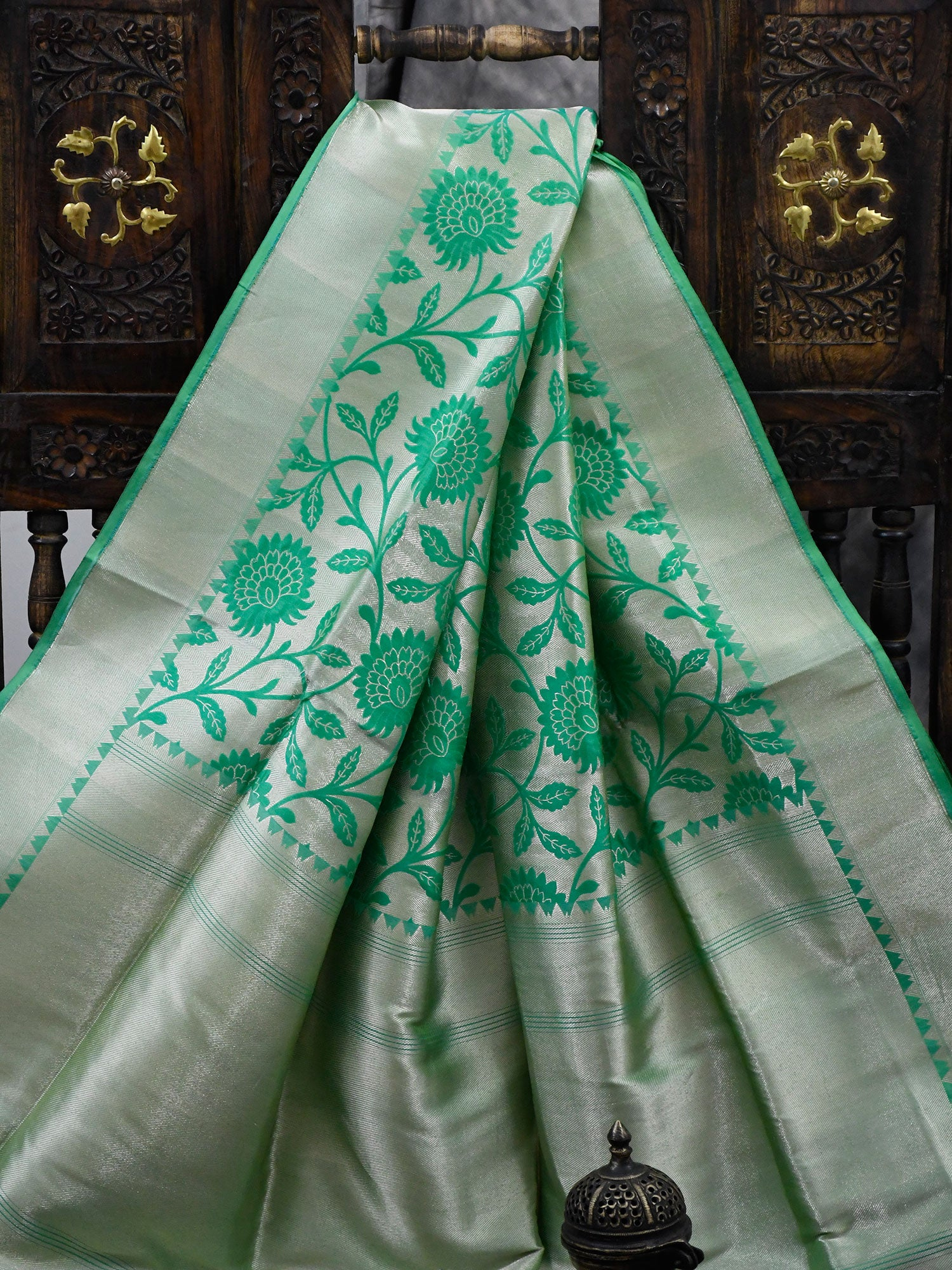 Sea Green Katan Silk Handloom Banarasi Saree - Sacred Weaves