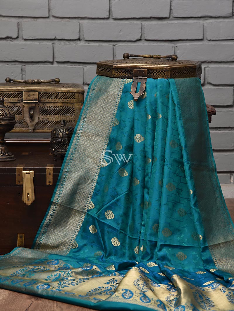 Blue Tanchoi Silk Handloom Banarasi Saree - Sacred Weaves