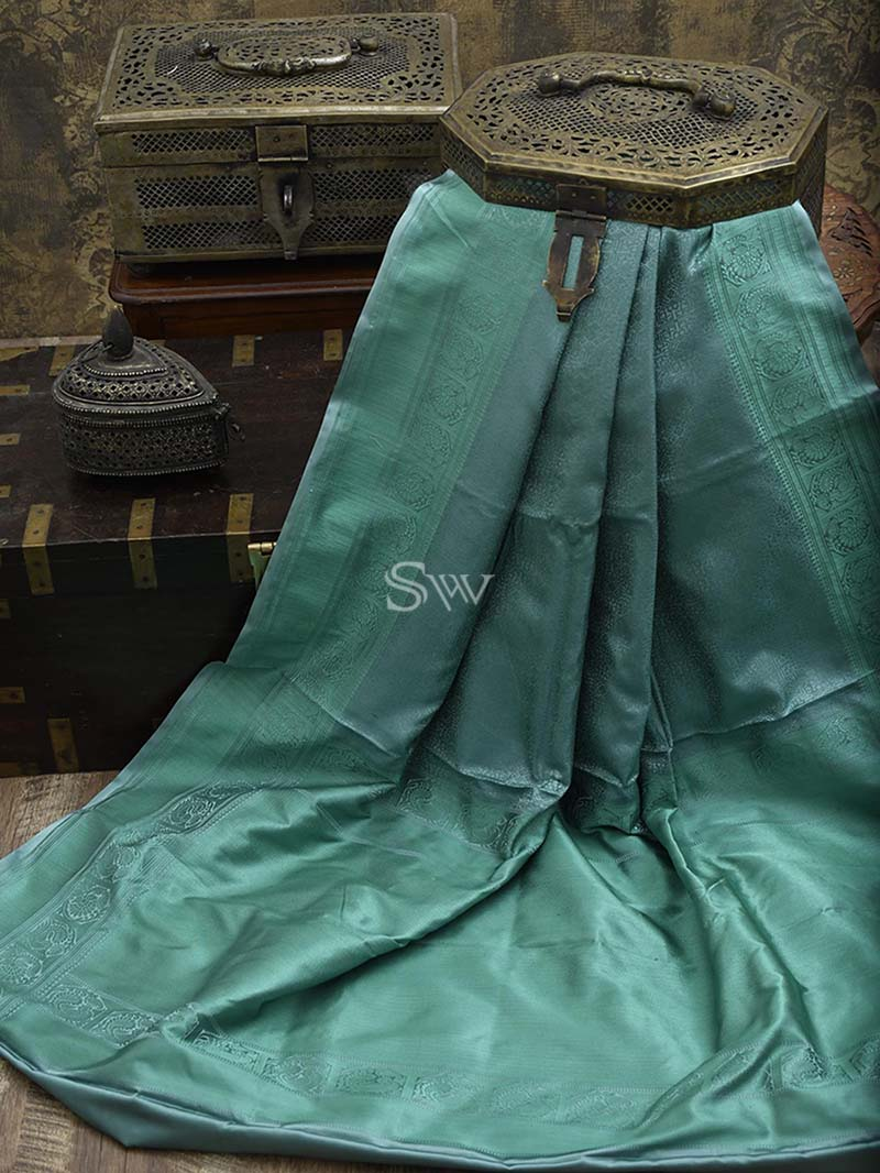 Mint Blue Tanchoi Silk Handloom Banarasi Saree - Sacred Weaves