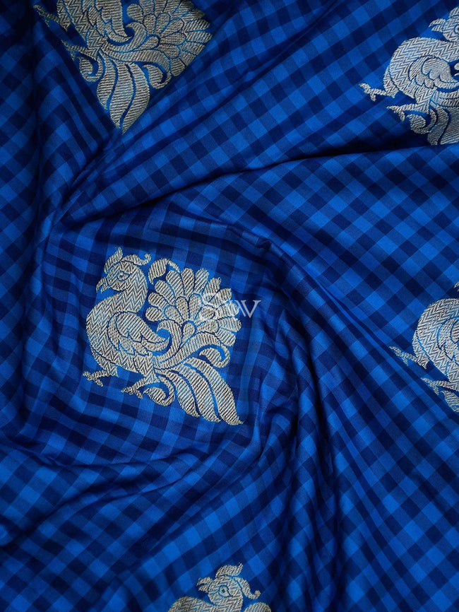 Shades Of Blue Checks Sona Rupa Shikargah Border Pure Katan Silk Banarasi Saree - Sacred Weaves