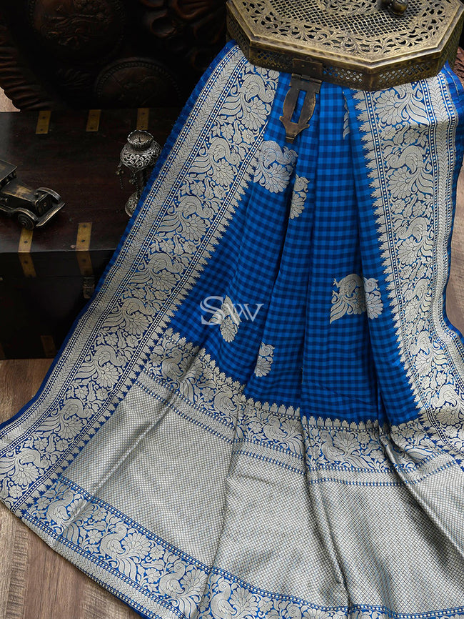 Blue Checks Katan Silk Banarasi Handloom Saree - Sacred weaves