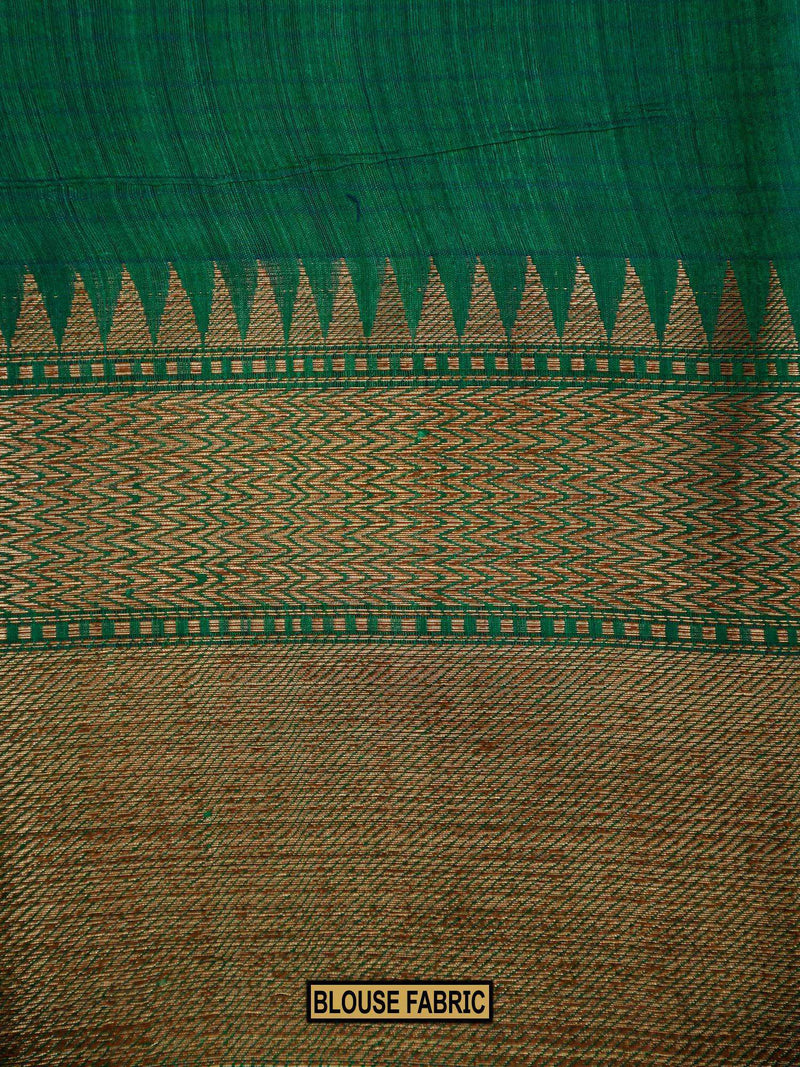 Peacock Green Color Floral Resham Jaal Pure Dupion Silk Banarasi Saree-Sacred Weaves