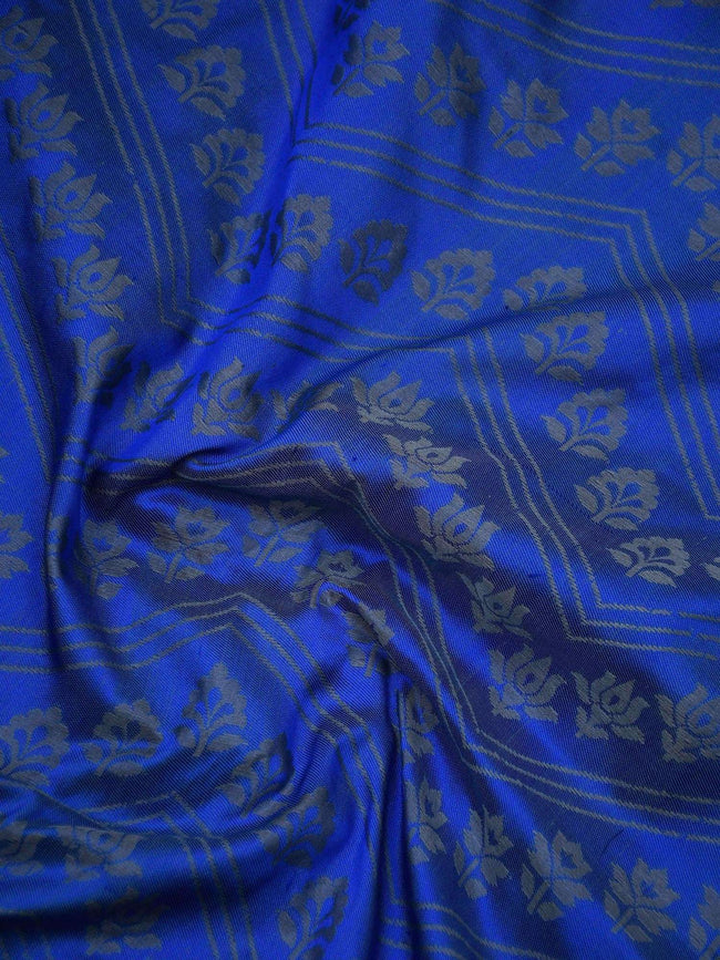 Royal Blue Color Floral Booti Pure Tanchoi Silk Banarasi Saree - Sacred Weaves