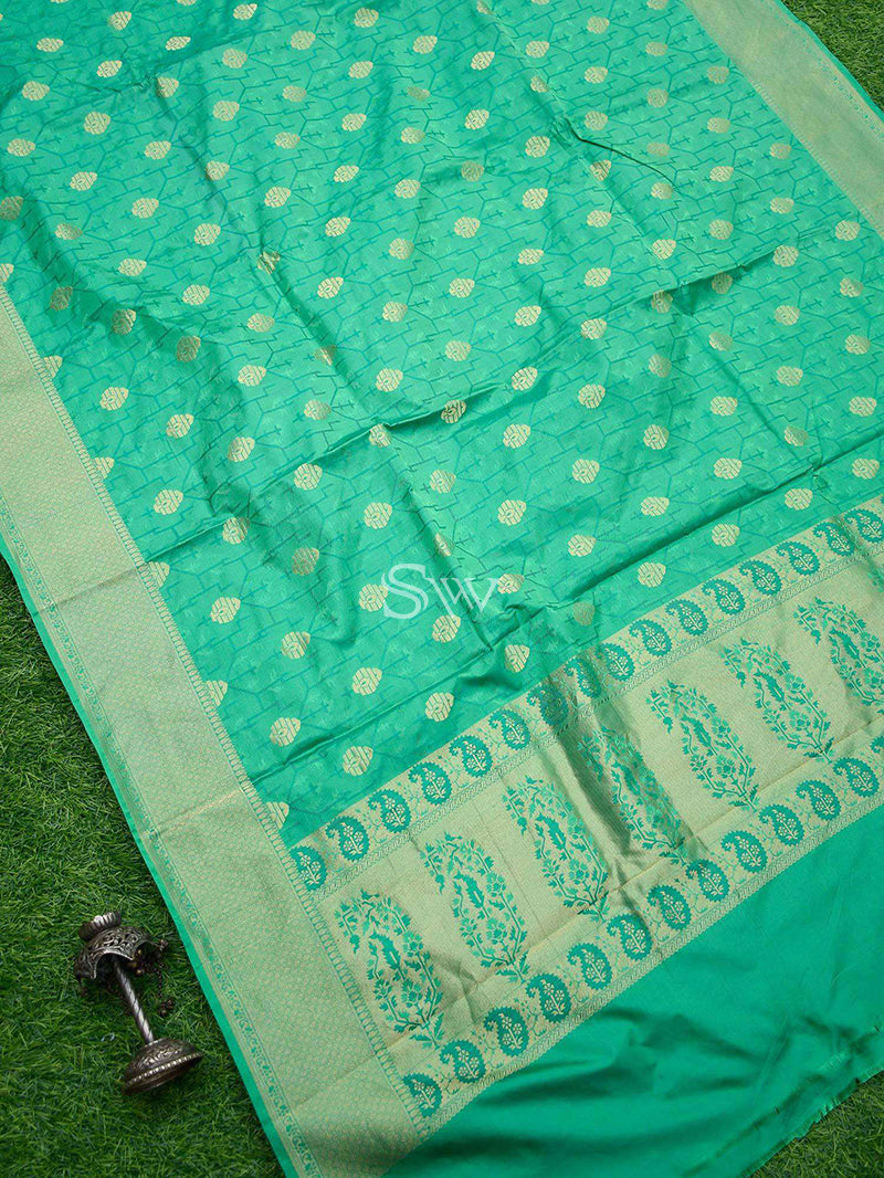 Emerald Green Tanchoi Katan Silk Handloom Banarasi Saree - Sacred Weaves