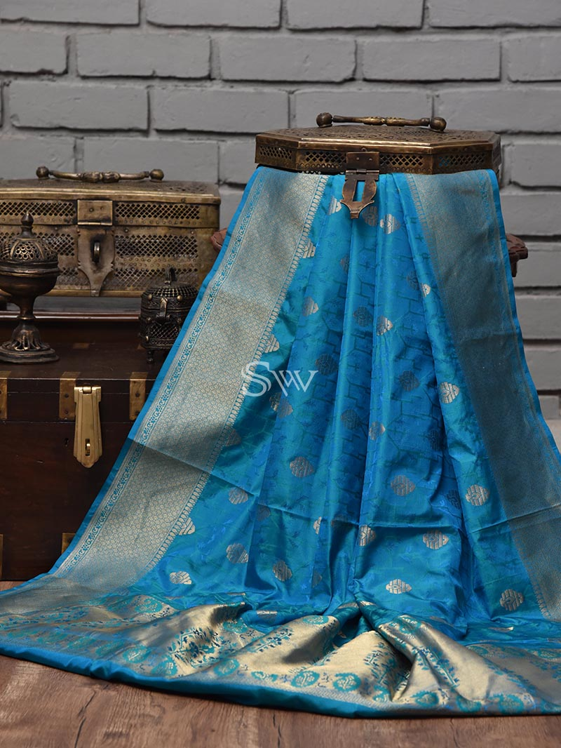 Sea Blue Tanchoi Silk Handloom Banarasi Saree - Sacred Weaves
