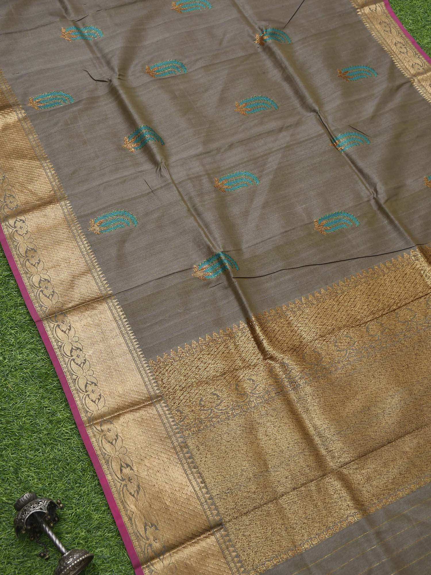 Pastel Brown Meenakari Tussar Silk Handloom Banarasi Saree -Sacred Weaves