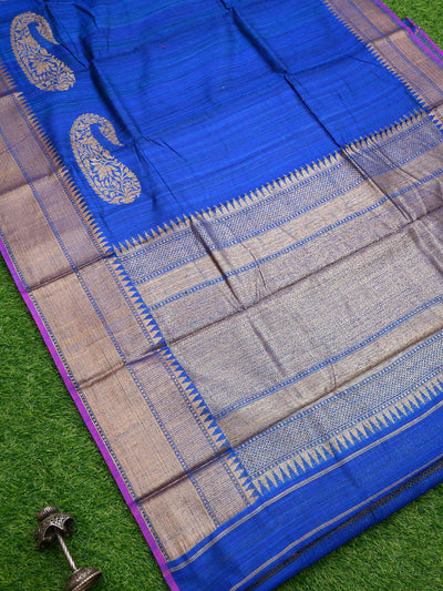 Blue Color Peisely Antique Zari Broad Border Pure Dupion Silk Banarasi Saree-Sacred Weaves