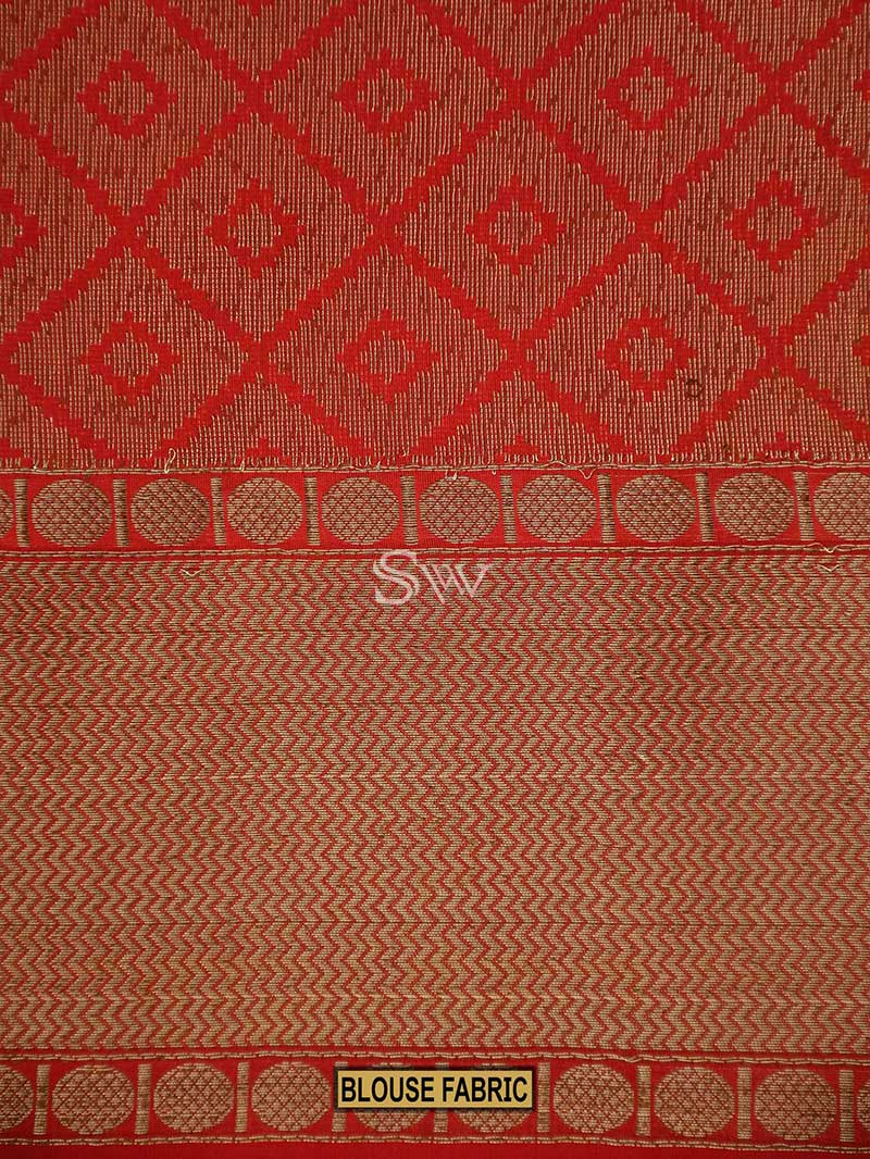 Rust Magenta Color Stripe Pure Tusser Silk Antique Zari Motif Banarasi Saree-Sacred Weaves