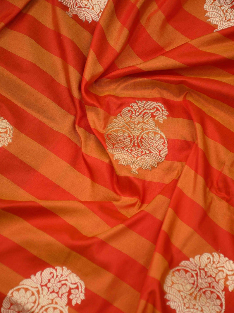 Shades Of Orange Stripe Gold Zari Broad Border Pure Katan Silk Banarasi Saree - Sacred Weaves